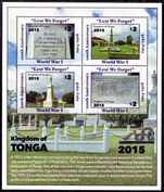 Tonga 2016 Commemoration of the First World War souvenir sheet unmounted mint.