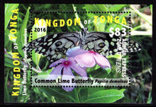 Tonga 2016 $83 Airmail Express Butterfly souvenir sheet unmounted mint.