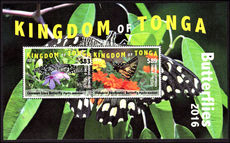 Tonga 2016 $83 & $89 Airmail Express Butterfly souvenir sheet unmounted mint.