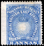 British East Africa 1890-95 8a blue lightly mounted mint.