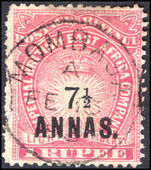 British East Africa 1894 7½a on 1r carmine fine used.