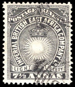 British East Africa 1895 7½a black fine used.