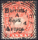 British East Africa 1895 2a vermillion fine used.