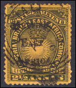 British East Africa 1895 2½a black on yellow fine used.
