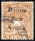 British East Africa 1895 4a yellow-brown fine used.