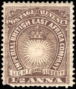 British East Africa 1890-95 ½a deep brown (faults) mounted mint.