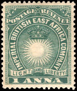 British East Africa 1890-95 1s deep blue-green mounted mint.