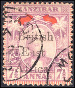British East Africa 1897 7½a mauve and red fine used.