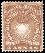 British East Africa 1890-95 4a yellow-brown lightly mounted mint. Papermakers watermark.
