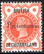 Bechuanaland 1888  ½d vermillion with 15 ½mm overprint mounted mint.