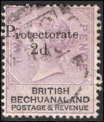 Bechuanaland 1888 2d on 2d lilac and black used.