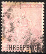 Cape of Good Hope 1880 THREEPENCE on 4d pale dull rose fine used.