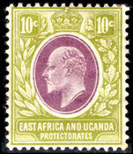 East Africa and Uganda 1907-08 10c lilac and pale olive lightly mounted mint.