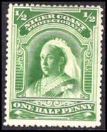 Niger Coast 1894 ½d green perf 14½-15, no watermark unused without gum.