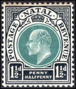 Natal 1902-03 1½d green and black mounted mint.