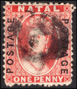 Natal 1870-73 1d bright red fine used.