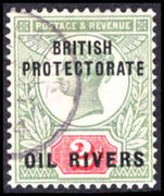 Oil Rivers 1892-94 2d grey-green and carmine fine used.
