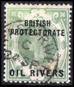 Oil Rivers 1892-94 1s dull green fine used.