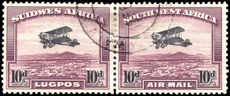 South West Africa 1931 10d air pair (lower three perfs seperated) fine used