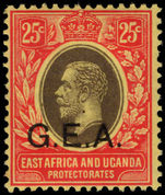 Tanganyika 1917-21 25c black and red on yellow lightly mounted mint.