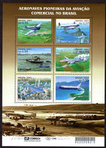 Brazil 2001 Commercial Aircraft souvenir sheet unmounted mint.