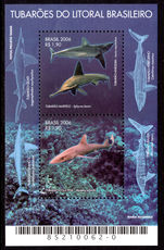 Brazil 2006 Sharks souvenir sheet unmounted mint.