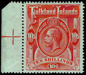 Falkland Islands 1912-20 10s red on green fine lightly mounted mint positional marginal.