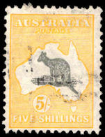 Australia 1929-30 5s grey and yellow wmk multi crown A fine used.