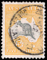 Australia 1915-27 5s grey and yellow die II narrow crown fine used.