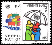 Vienna 1985 Boat and Umbrellas unmounted mint.