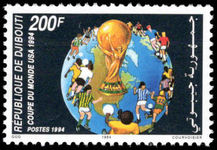 Djibouti 1994 World Cup Football unmounted mint. Lightly handstamped Post-museet Oslo from UPU archive.