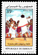 Djibouti 1994 Folklore unmounted mint. Lightly handstamped Post-museet Oslo from UPU archive.