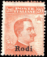 Rodi 1912-21 20c orange watermarked unmounted mint.