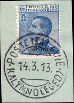 Calimno 1912-21 25c blue fine used on piece.