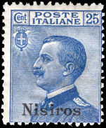 Nisiros 1912-21 25c blue unmounted mint.