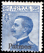 Patmos 1912-21 25c blue unmounted mint.