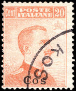 Cos 1912-21 20c orange no watermark fine used.