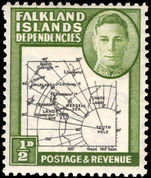 Falkland Island Dependencies 1946-49 ½d black and green thick map lightly mounted mint.