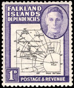 Falkland Island Dependencies 1946-49 1d black and violet thick map lightly mounted mint.