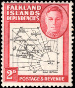 Falkland Island Dependencies 1946-49 2d black and carmine thick map lightly mounted mint.