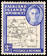 Falkland Island Dependencies 1946-49 3d black and blue thick map lightly mounted mint.