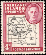 Falkland Island Dependencies 1946-49 4d black and claret thick map lightly mounted mint.