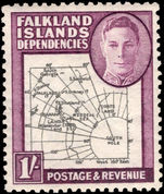 Falkland Island Dependencies 1946-49 1s black and purple thick map lightly mounted mint.