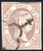 Spain 1851 12c pale lilac thin paper extremely fine used.