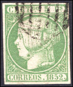 Spain 1852 5r yellow-green thick paper extremely fine used.