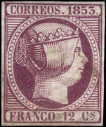 Spain 1853 12c reddish purple thin paper extremely fine used.
