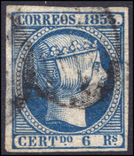 Spain 1853 6r blue thin paper extremely fine used.