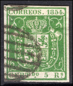 Spain 1854 5r green thin paper fine used.