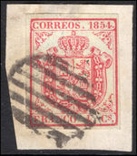 Spain 1854 4c rose thick bluish paper fine used on piece.