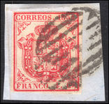 Spain 1854 4c carmine thick paper fine used on piece.